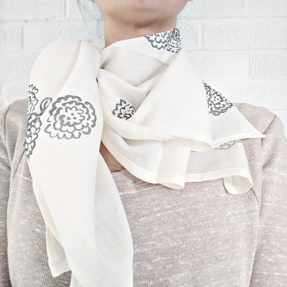 Garden Party Hand-Stamped Blanket Scarf