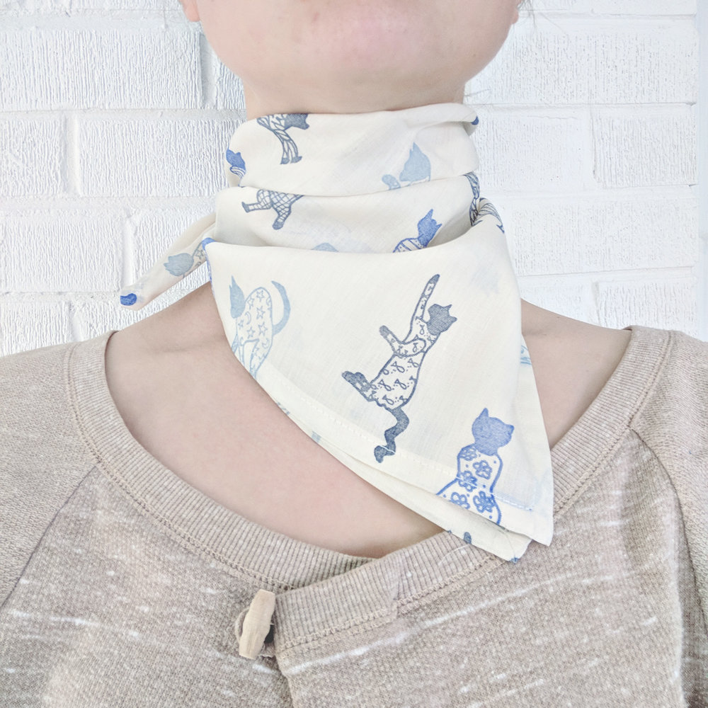 Cat's Pajamas Hand-Stamped Neckerchief