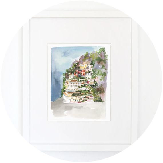 Yao Cheng  – Yao Cheng's stunning watercolors grace a range of household goods. I bought this print of Positano, Italy for my mom back when it first came out, and the line of city prints has since expanded.