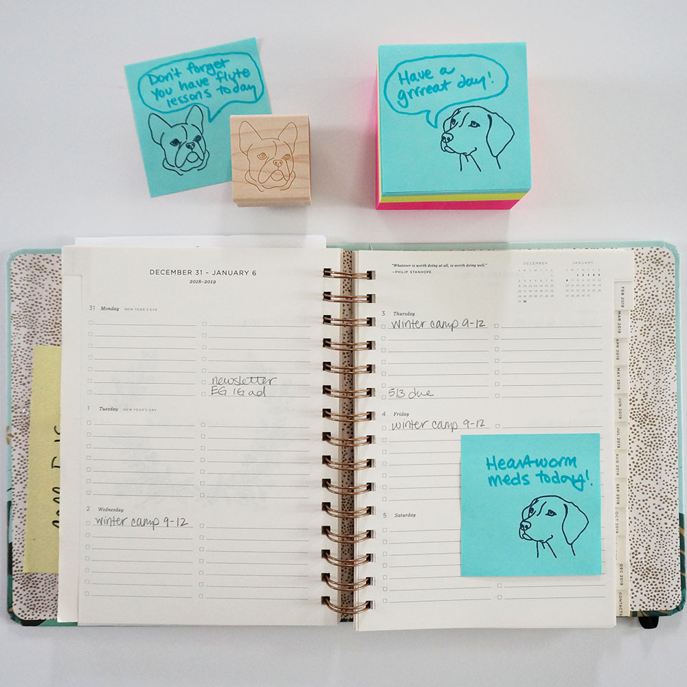 Leave the cutest school lunch notes and helpful calendar reminders when you stamp your Post-it Notes.