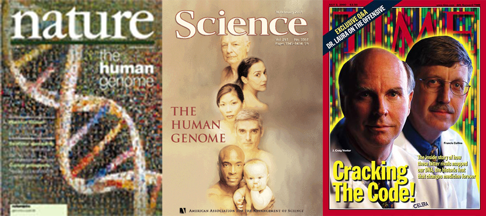 Journal and magazine covers celebrating the sequencing of the human genome
