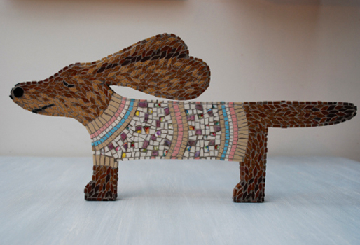 Photo of mosaic dog