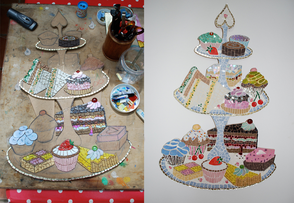 A Mosaic Cake Stand in Process