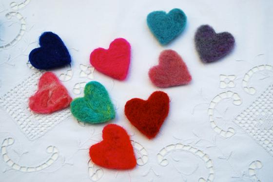 Colourful felt hearts