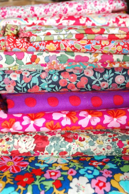 Close up of liberty print fabric samples
