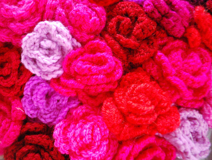 Close up of crochet roses