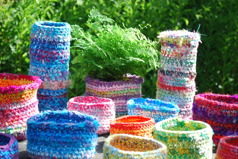 Crochet baskets all shapes and sizes from one pattern