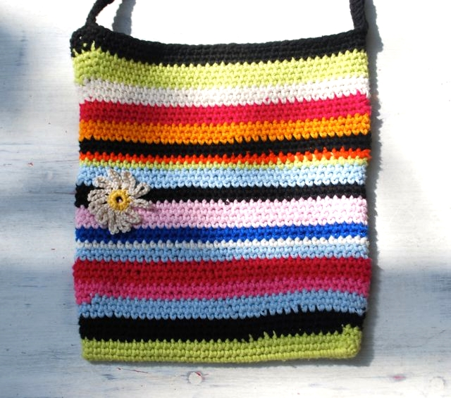Stripy bag crocheted using Rico Essentials Cotton