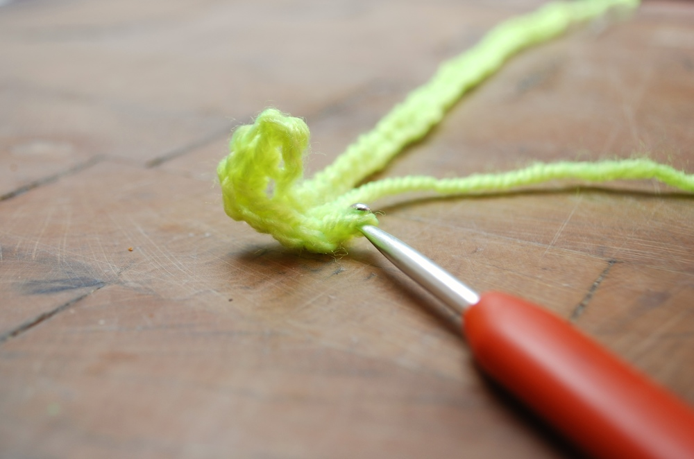 By about the 4th chain stitch you will see your work begging to curl like this.