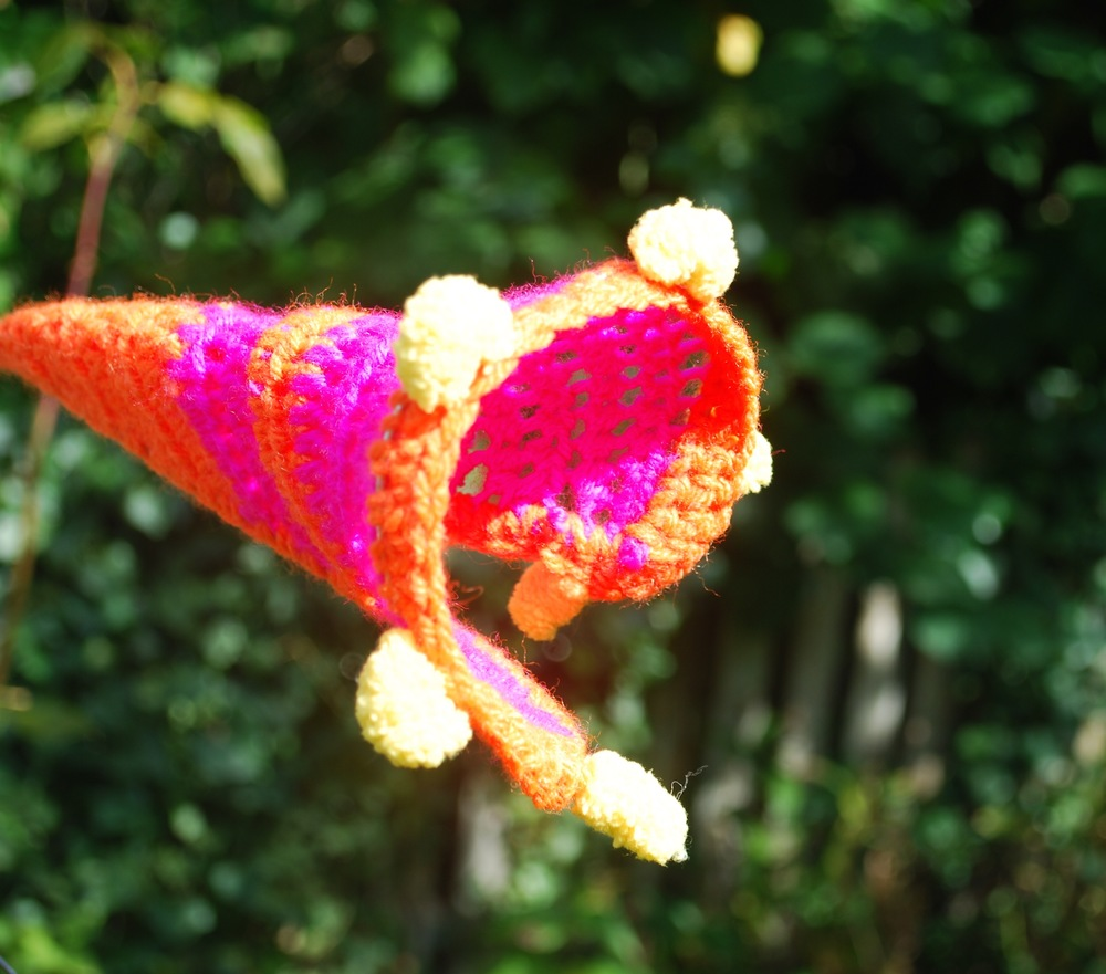 Sculptural crochet flower-pink