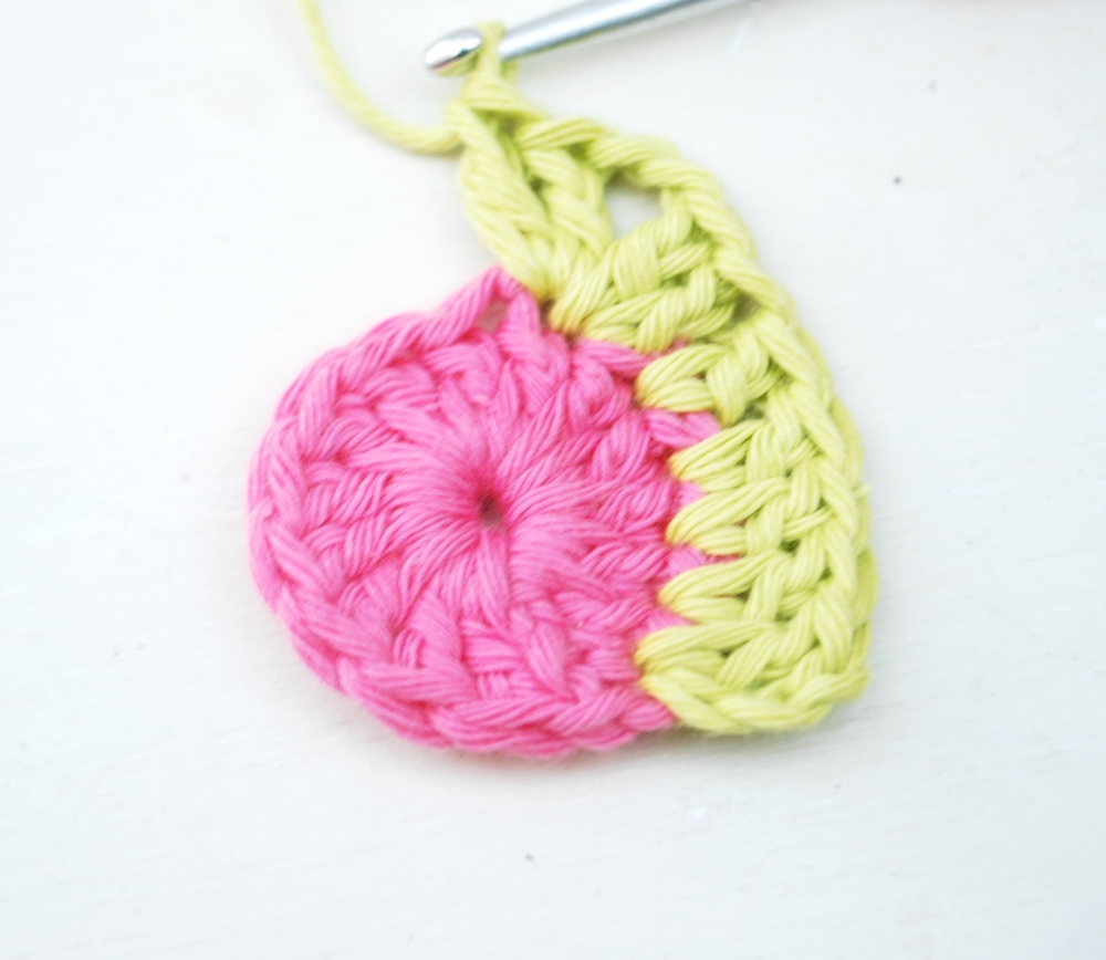 Work your first corner as follows:  2 treble crochet, chain 2 and 2 more treble crochet all into the same stitch.