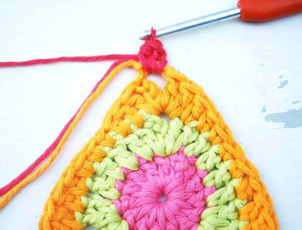 Into same hole work 1 half treble crochet.