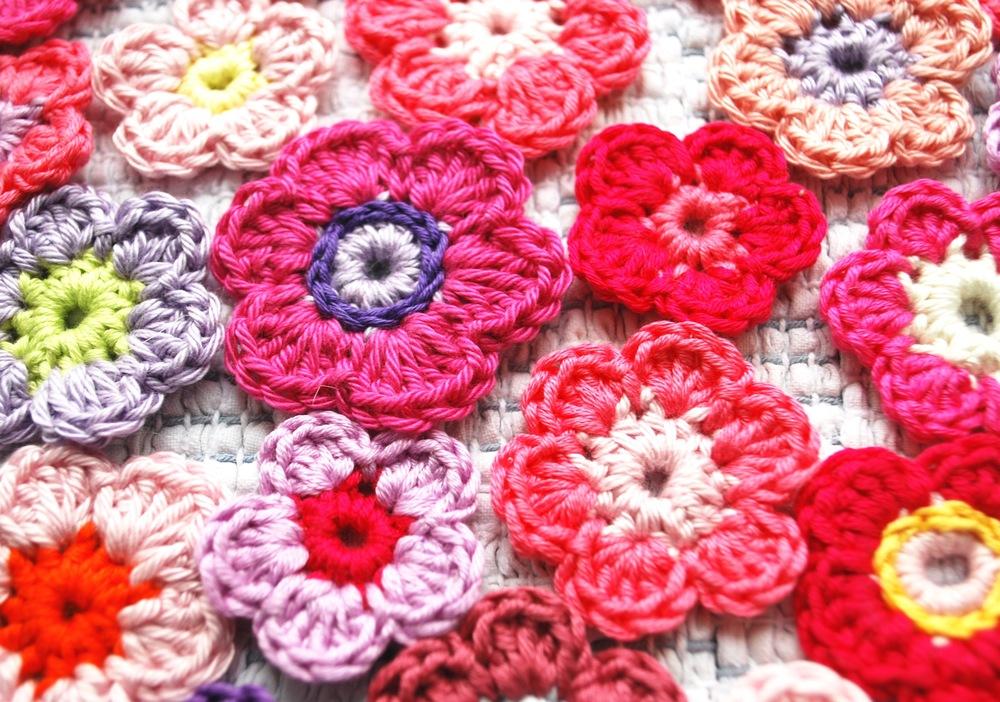 Pink crochet daisies