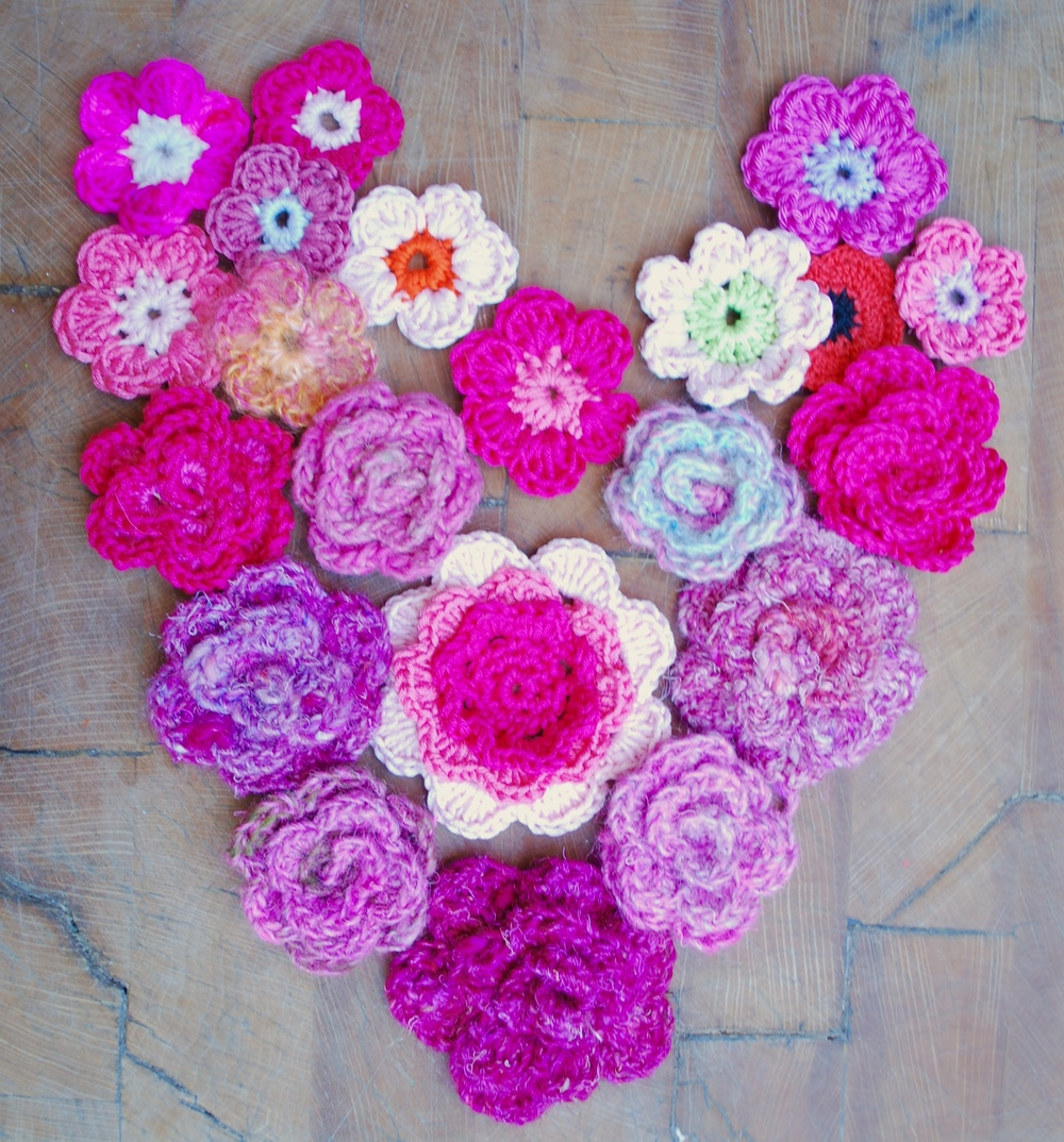 Assortment of crochet flowers