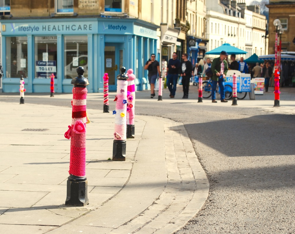 Bollards yarn bombed