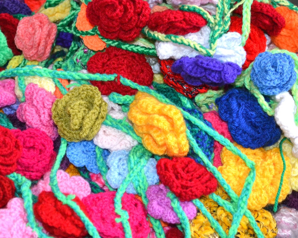 Tangles mess of crochet roses!