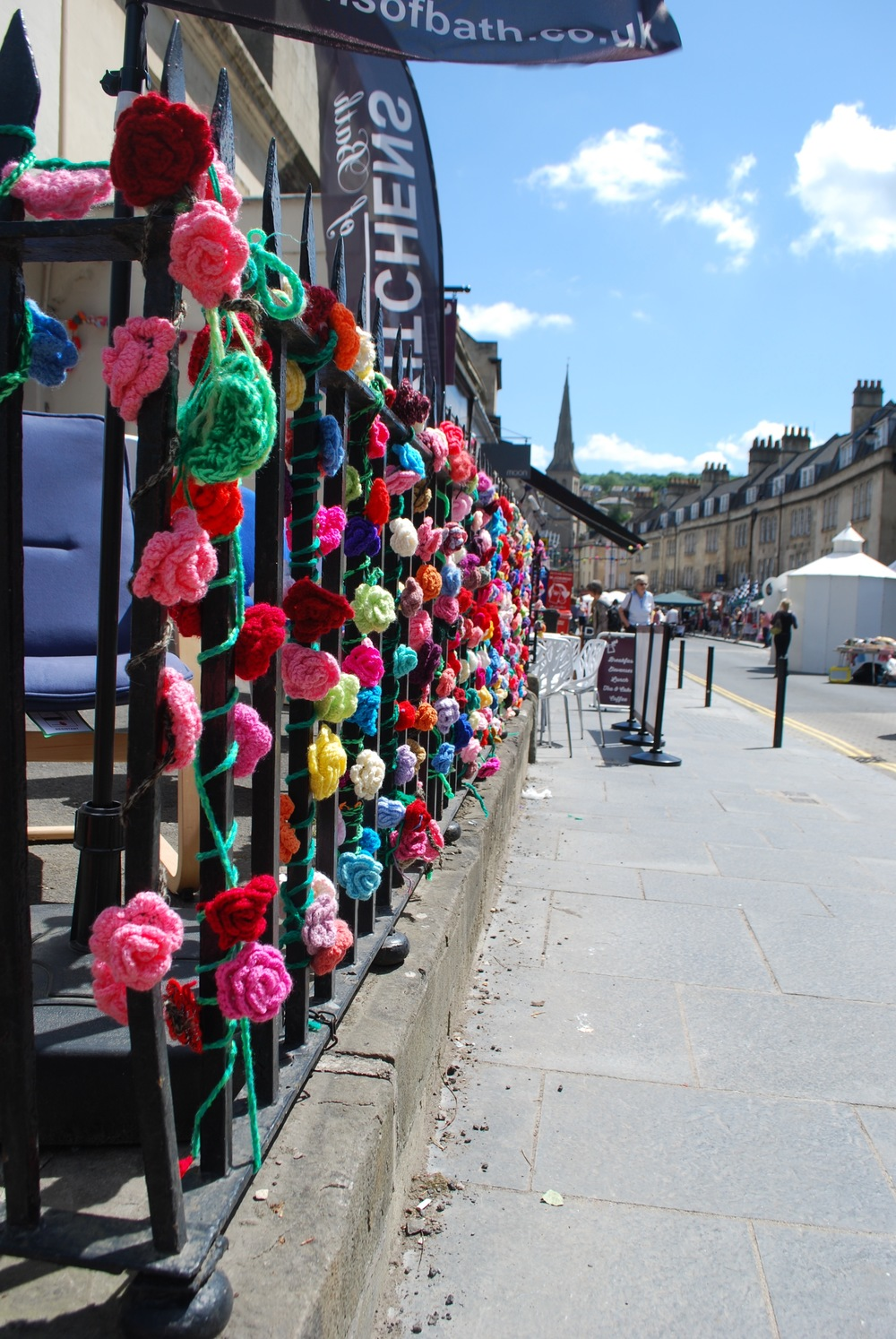 Crochet Roses at Widcombe Street Party