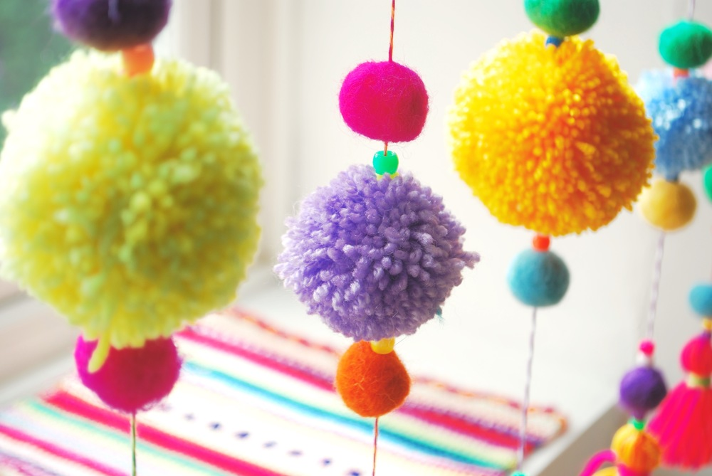 Close up of pom pom curtain