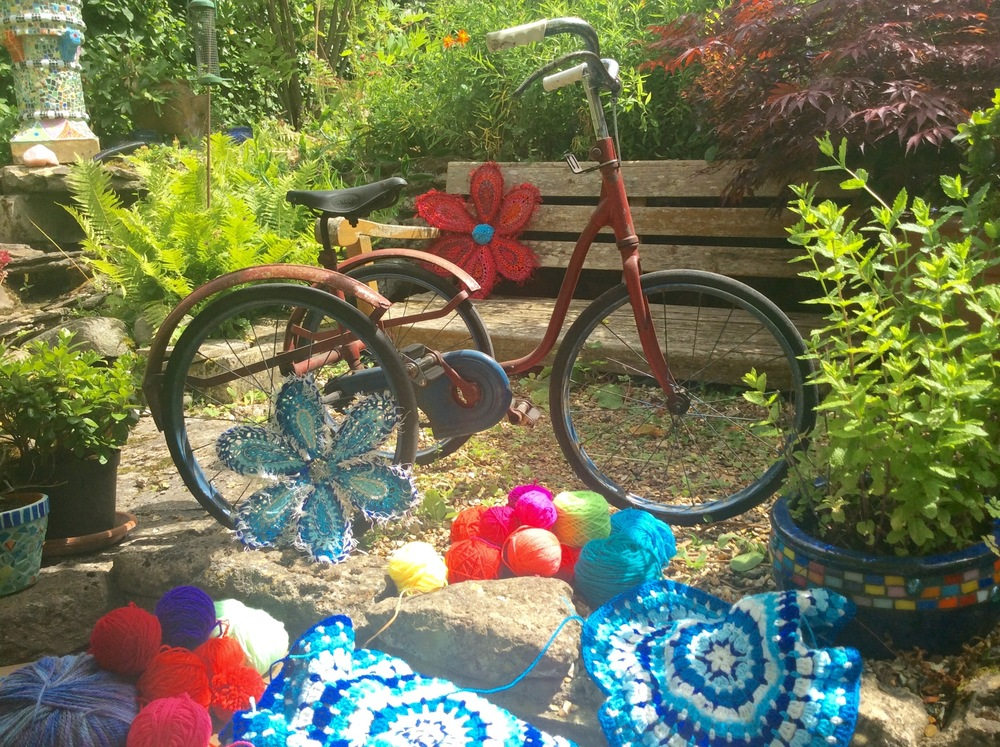 Tricycle ready to be yarn bombed by Emma Leith