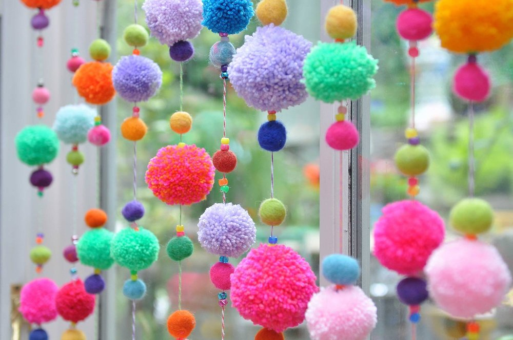 Brighten Up Any Window With This Colourful Decorative Pom Pom Curtain. Easy  To Make And Suitable For All Ages (children Over 5) This Is The Perfect ...