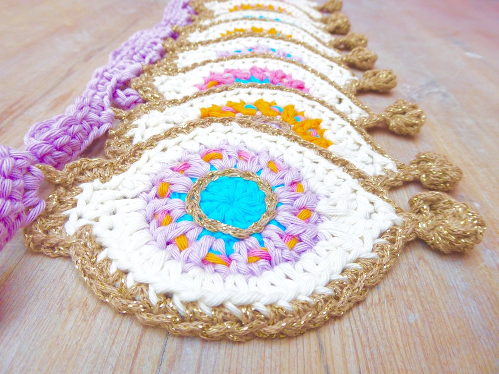 Crochet Bauble Bunting pompom bobble