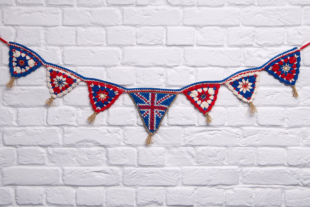 Union Jack crochet bunting by Emma Leith