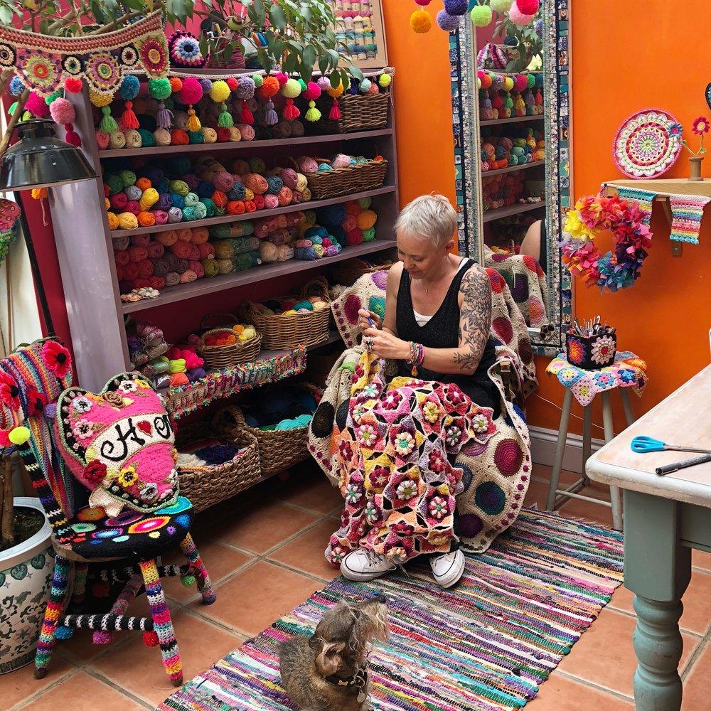 Crochet artist Emma Leith in her studio