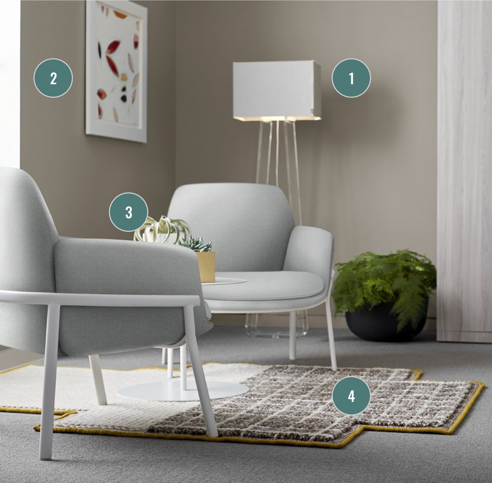 For example, use Kayhan's  Fringe  service to:  1. Create shadows with lighting (shown  Tube Top by Haworth )  2. Add depth on flat surfaces with artwork  3. Soften a space with greenery and accessories  4. Define an area with a textured rug (shown  Mangas Space by Haworth )