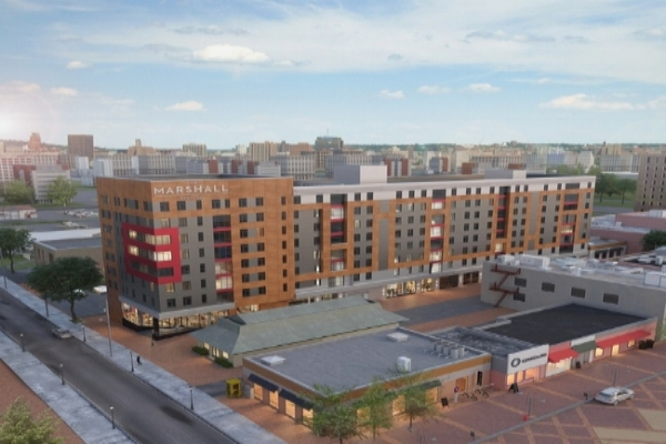 The Marshall - Location: Syracuse, NYClient: Aptitude DevelopmentProject Size:168 Units, 287 BedsSquare Footage:200,000Scopes:Flooring, Furniture, Cabinets, Countertops, Lighting, and AppliancesOpening: August, 2018