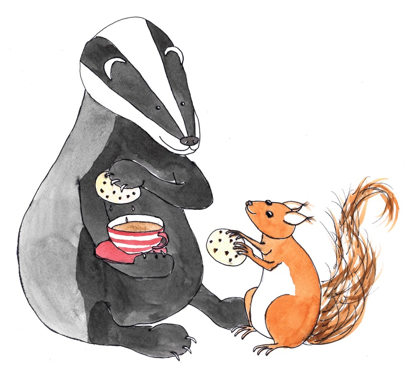 Badger and Squirell dunking biscuits.jpeg