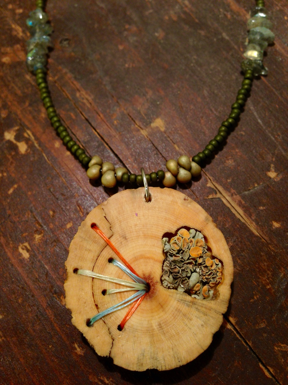 Pine necklace with lichen inlay. Materials from Summit County, CO.