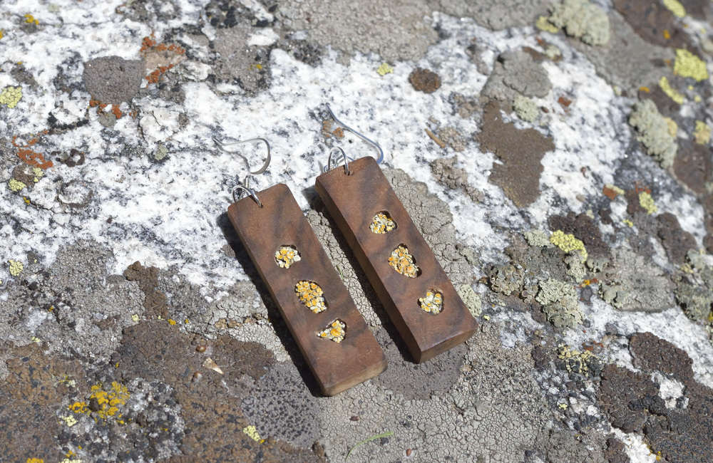 Totem Lichen and Walnut Earrings