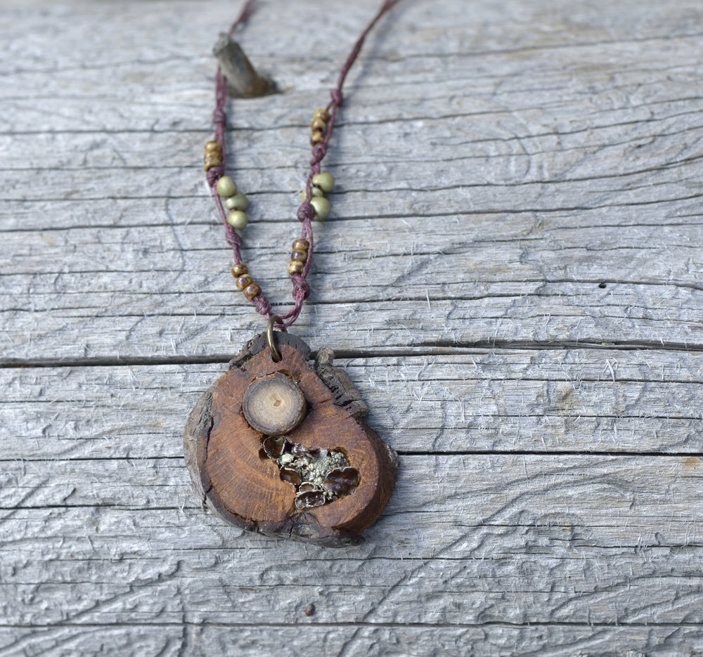 Redwood and Lichen Necklace