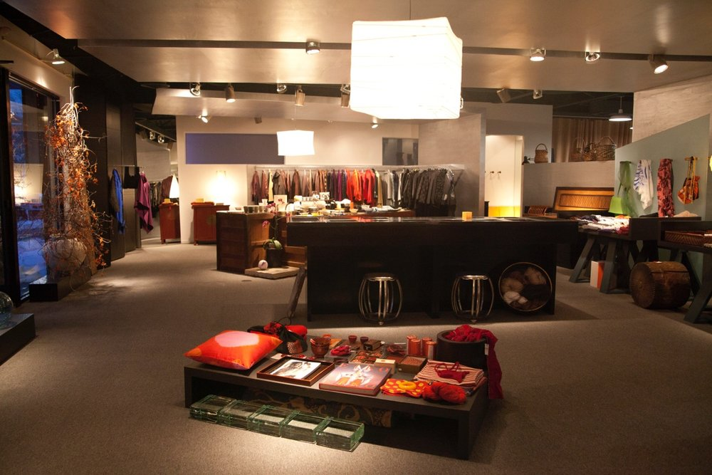 Our retail space – where we showcase our collection of clothing, accessories, objects, antiques and art.
