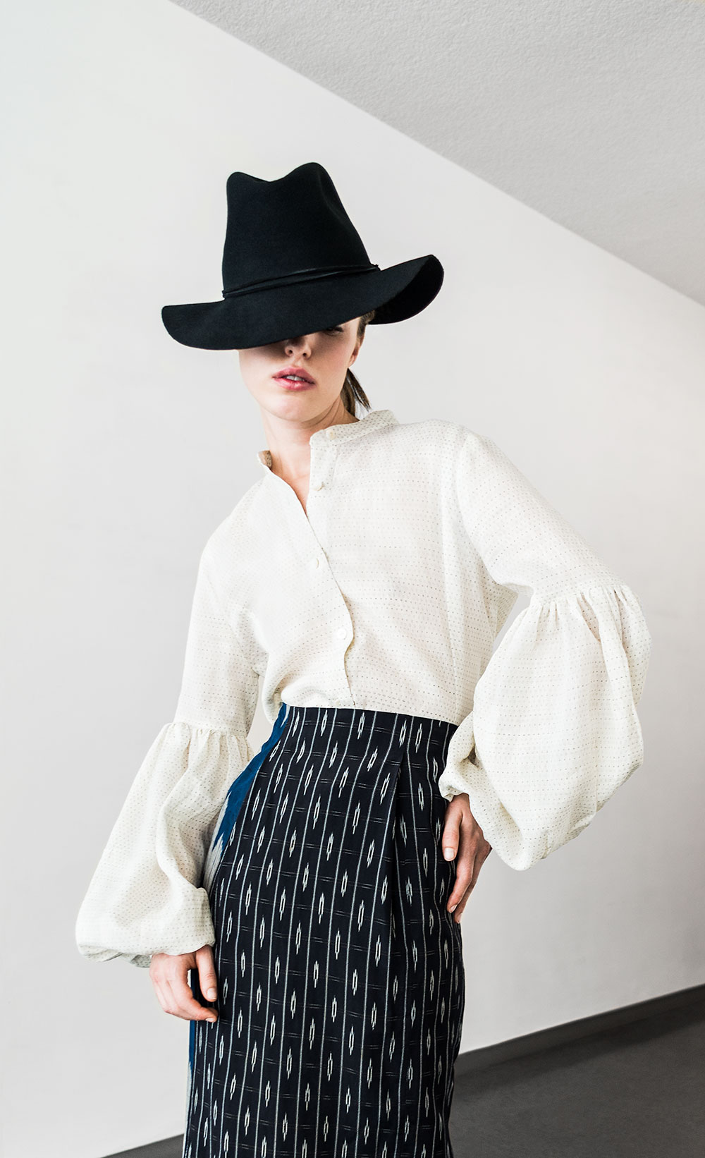 Pouf Sleeve Shirt in vintage Japanese linen ikat; Skinny Skirt in vintage Japanese silk ikat.
