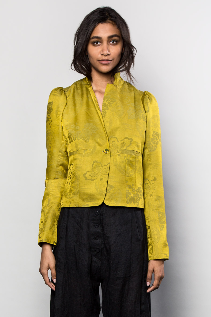 Above: Example of a garment made from full kimono – Olivier Jacket in Yellow-Green Silk