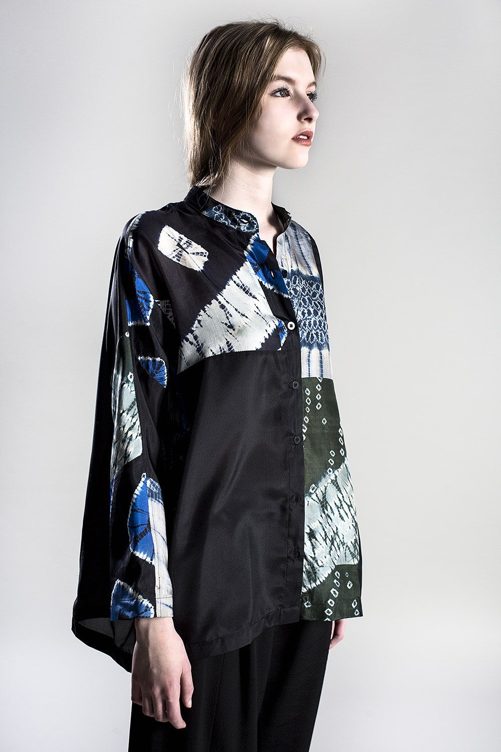 Above: Example of pairing a couple of vintage fabrics – Japan Shirt in Mixed Tie-dyed Silks