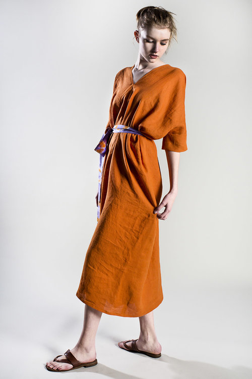 Our   Orange Irish Linen Lounge Dress   comes with a vintage Japanese tie-dyed sash to wear around your waist or neck. It's the ultimate relaxed summer dress. $795