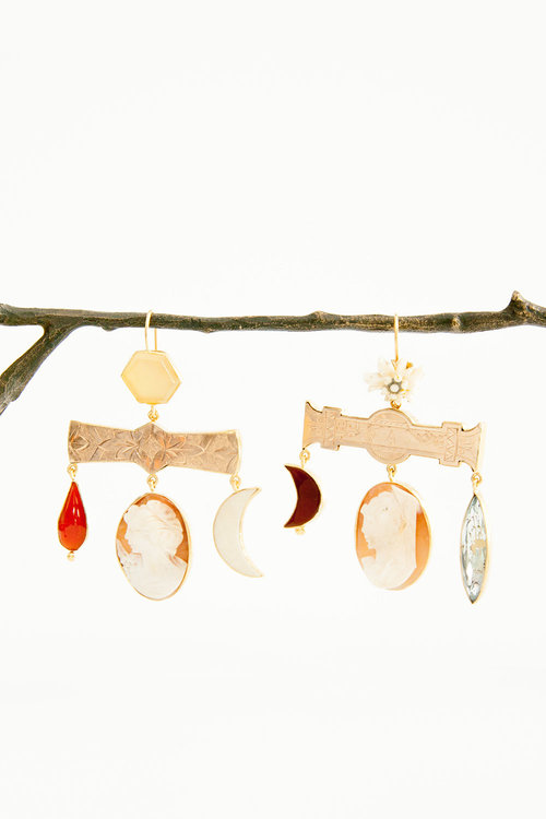Grainne Morton Chandelier Earrings made of vintage Scottish jewel pieces are gorgeous statement-makers. $595