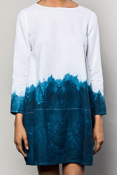 Our Lantern Dress in Dip-Dyed Indigo makes for original summer style and is so easy and comfortable. $995