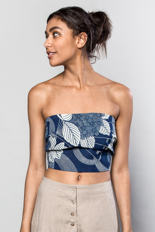 Our   Obi Bandeau   is a gift your husband will want to buy you, no question! Made of vintage Japanese floral cotton with vintage tie-dyed silk ties you can tie in back to have the ties hanging long, or wrap twice. $295