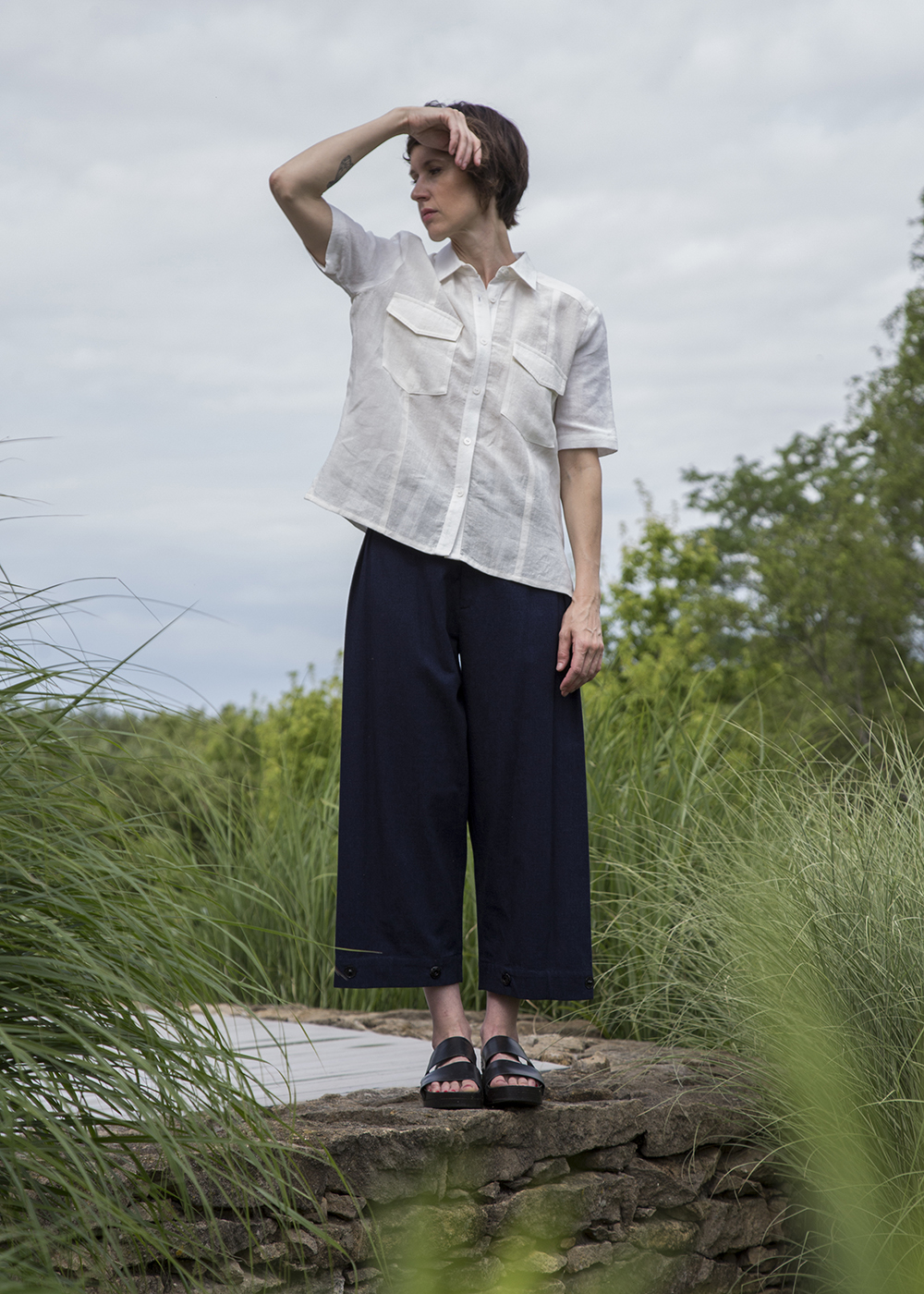 Camp Shirt in White Italian Linen  | Snap Pant