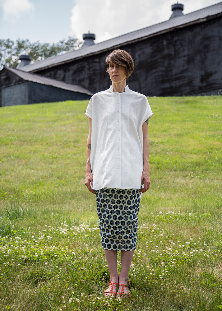 Mizu Top in Double-weight White Linen | Skinny Skirt in Chinese Printed Indigo Cotton
