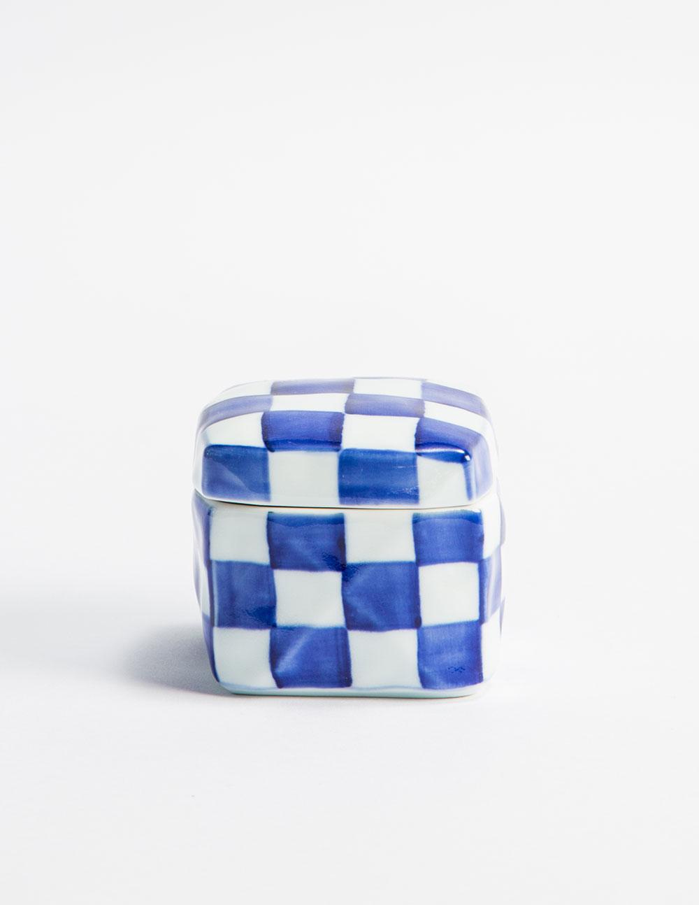 Blue and White Checkerboard Box  $35