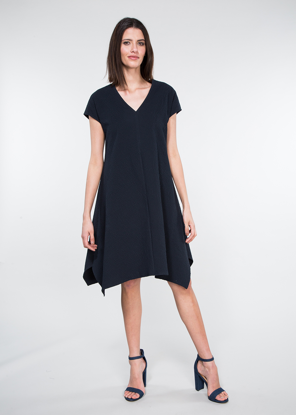 Westwood Dress in Italian Black Cotton Seersucker  $895