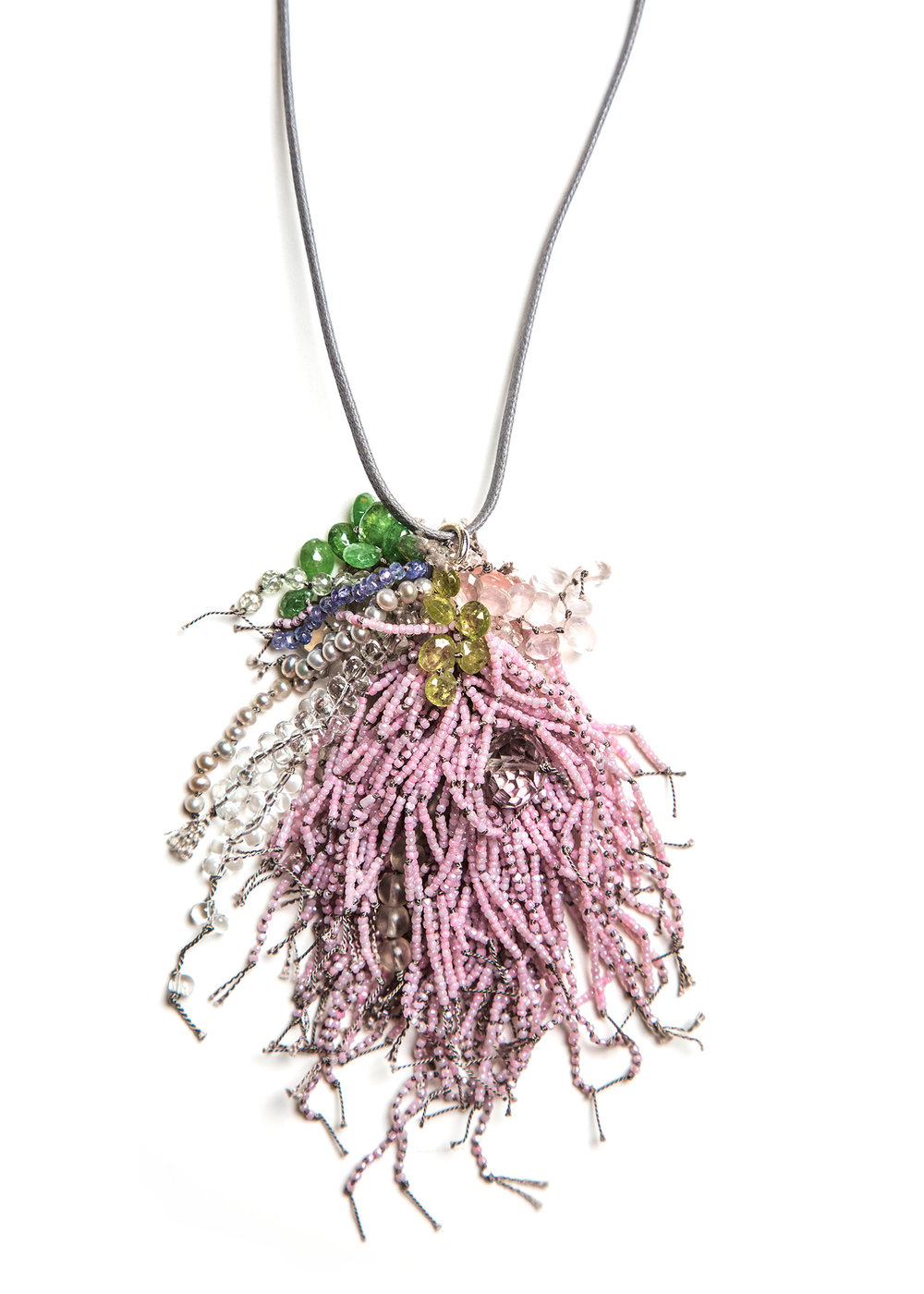 Turtle Forest Pink Cluster Necklace  $1,850