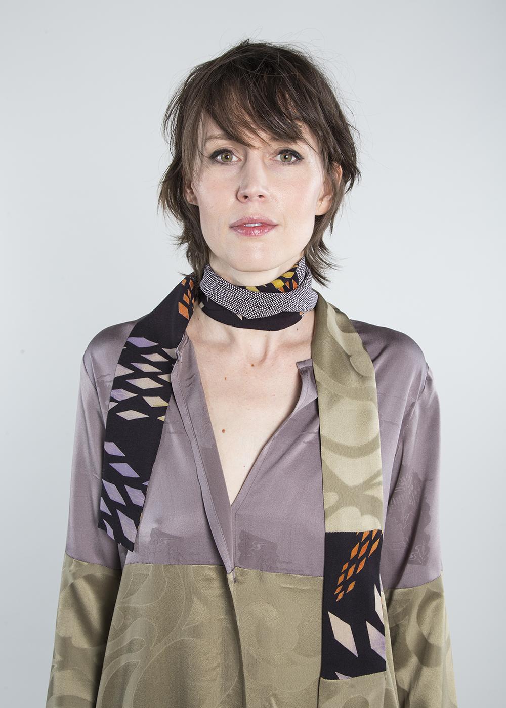 Lotus Dress in Two Vintage Japanese Silk Damasks  $1,995