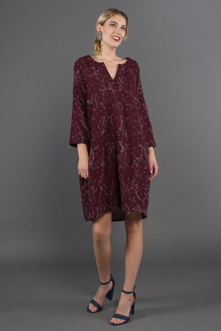 "New Lantern Dress in Nuno Wool ""Skip Stitch""  $995"