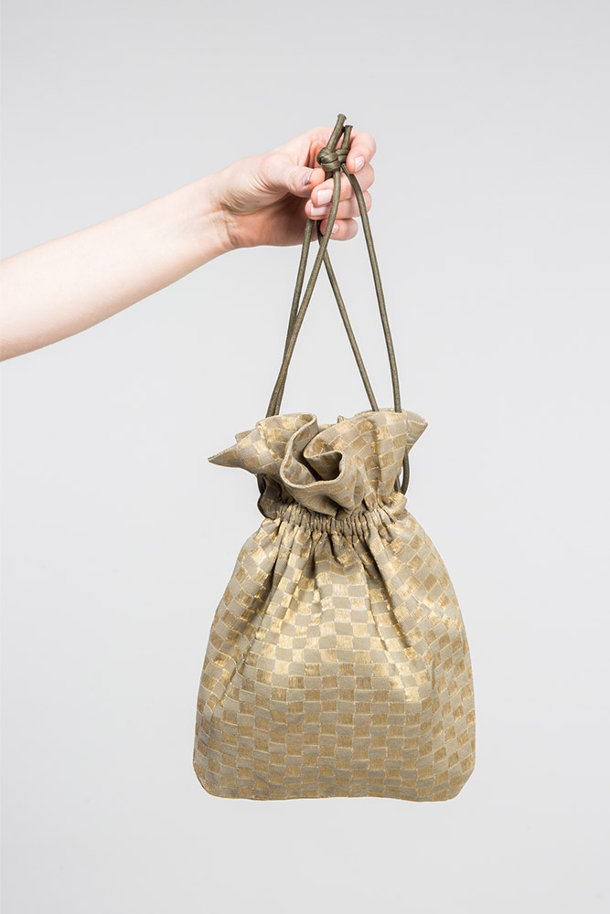 Drawstring Bag in Vintage Japanese Taupe and Gold Metallic Checkerboard Silk  $325