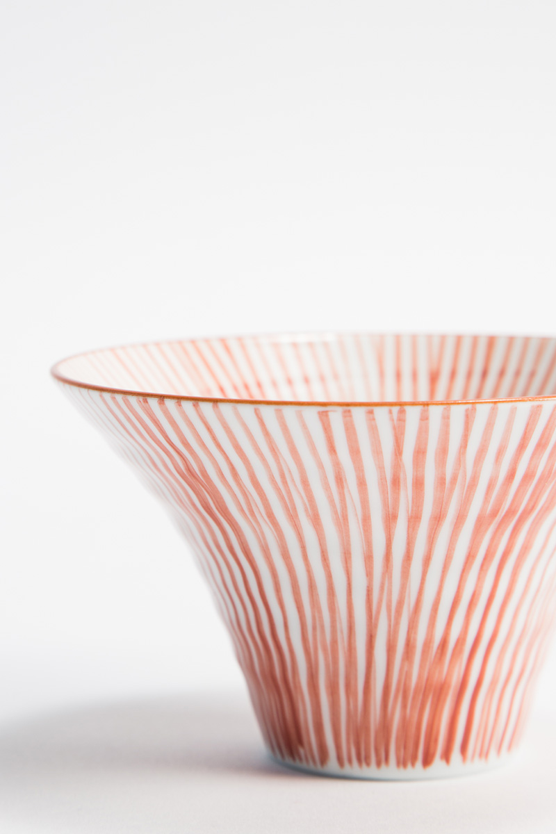 White and Red Striped Trumpet Bowl  $35